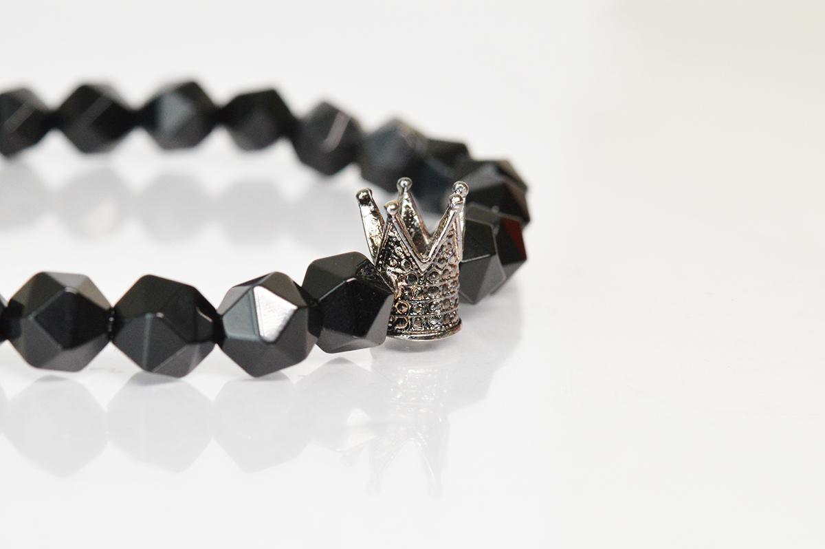 Bratara Coroana cu onix negru fatetat poza 2021