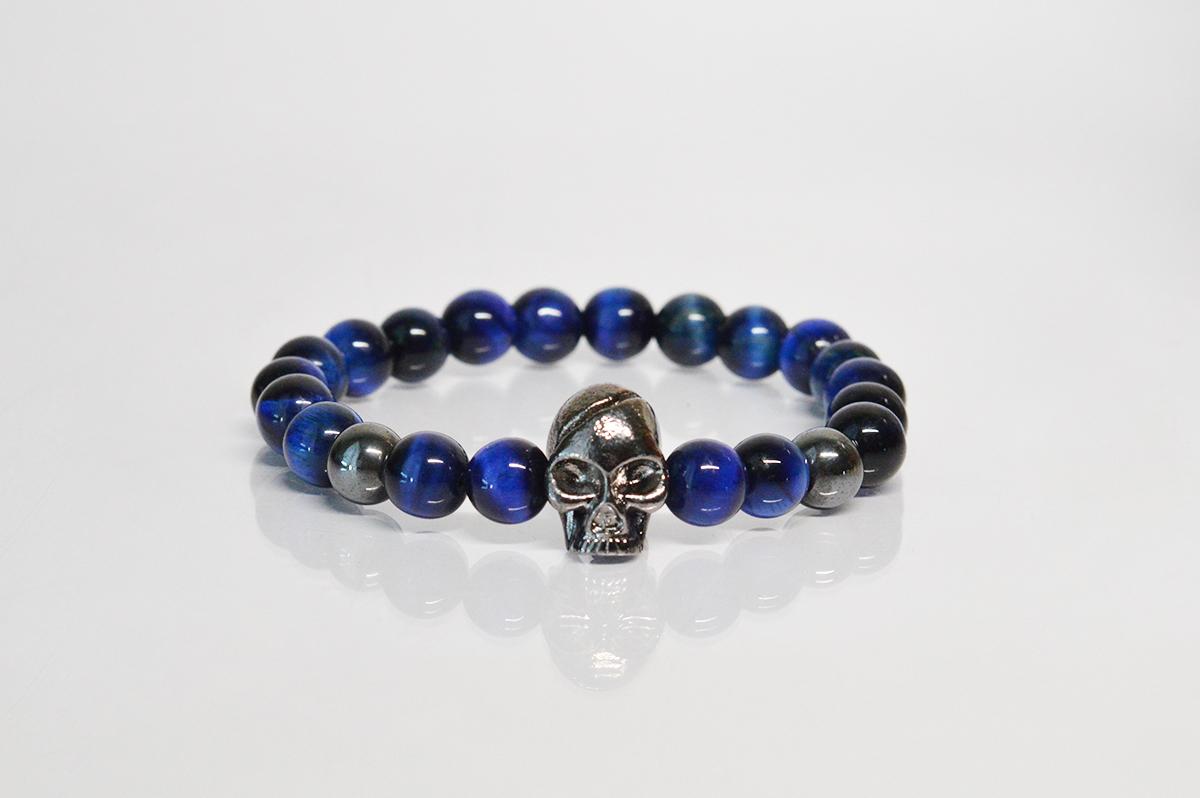 Bratara Craniu cu lapis lazuli albastru si hematit negru poza 2021