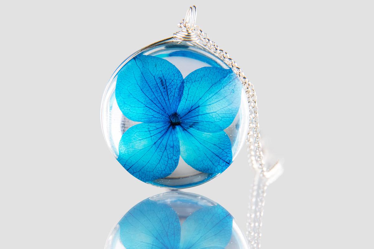 Pandantiv cu hortensie albastra (argint 925) poza 2021
