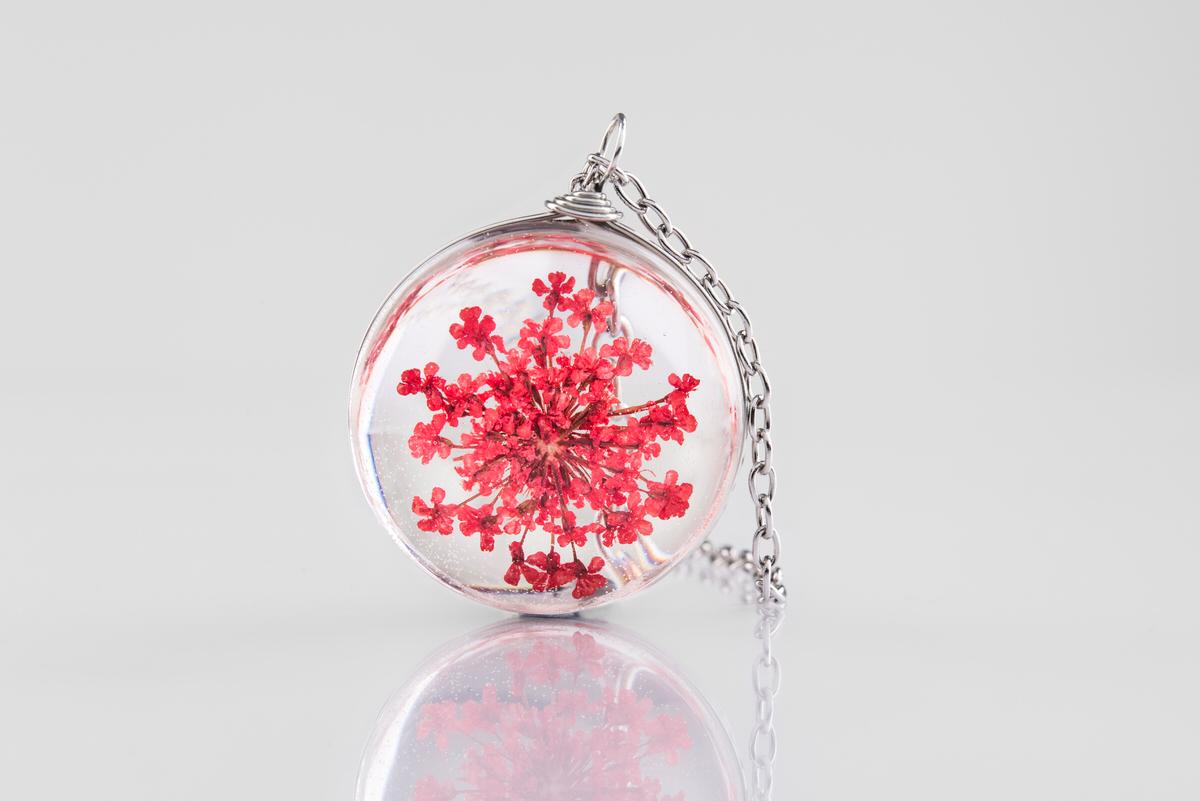 Pandantiv floare rosie Red passion (inox) poza 2021