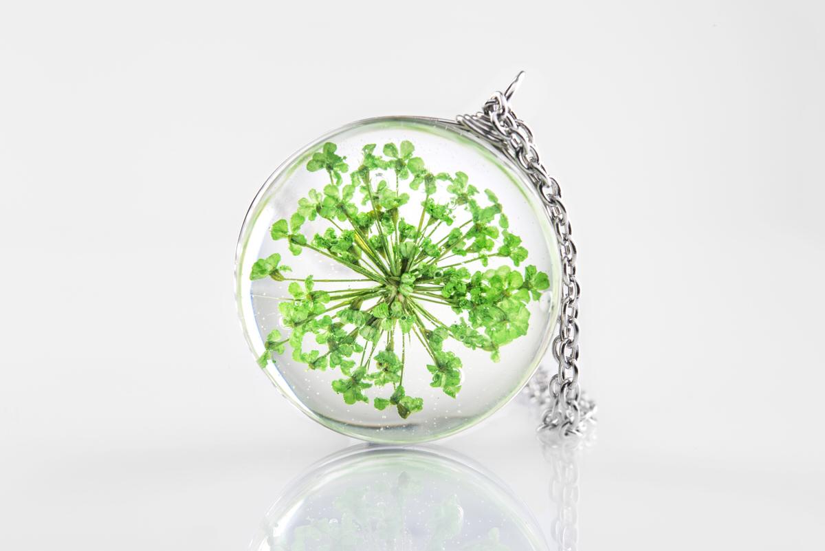 Pandantiv floare verde Summerish green (inox) poza 2021